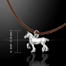Draft Horse .925 Sterling Silver Cord Necklace by Peter Stone