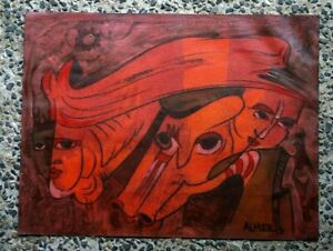 Surrealism Original Oil Painting signed ALMER