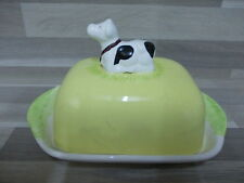 Nice ceramic butter dish cow on cover - botervloot in keramiek