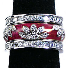3-RING_#02_CHERRY-RED ENAMEL FLORAL CZ BAND RINGS_SZ-10_925 STERLING SILVER