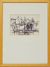 Zeichnung Nini Consolaro Bauernhäuser 1971 Sammlung Karl Schott 37 x 28 cm