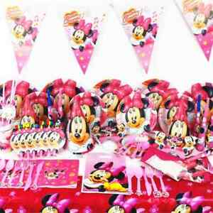 MINNIE MOUSE BIRTHDAY PARTY TABLE COVER CUPS PLATES BUNTINGS HATS STRAWS BALLOON