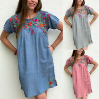 Women Summer Embroidered Dress Crew Neck Short Sleeve Loose Casual Dresses
