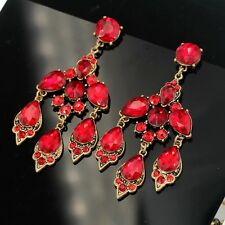 Boucle d'Oreille Fashion CLIP Doré Rouge Cristal Chandelier Pendant Mariage YW8