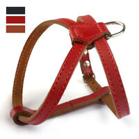 Xsmall Small Chihuahua Dog Harness Adjustable Pulling Leather Harness Red Brown