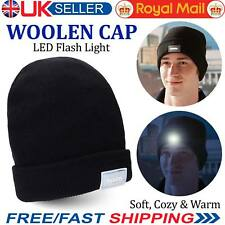 LED Beanie Hat With 5 LED Torch Light One Size Camping Cycling Outdoors Gift UK