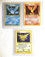 Pokemon Cards Original Legendary Birds - Zapdos - Articuno - Moltres Fossil Holo