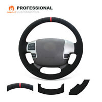 MEWANT Black Suede Steering Wheel Cover for Toyota Land Cruiser Tundra Sequoia