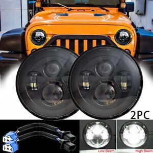 """Pair 7"""" CREE Round LED Headlight DOT Hi/Lo Beam For Jeep Wrangler JK TJ CJ LJ JL"""