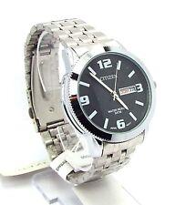 New Citizen Man  Silver-tone, Black-dial, Day-date-window Dress Watch