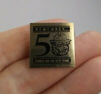 Vintage SMOKEY the Bear 50 years Fire Prevention pinback button pin *EE94