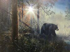 LED Canvas Print,Wildlife Art,Primitive,Bear in the Mist, Cabin,Lodge, 4445