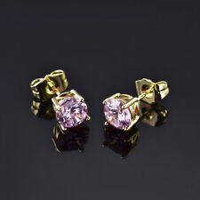HUCHE Pink Diamond Crystal Yellow Gold Filled Stud Ladies Party Daily Earrings