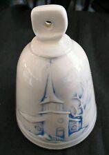"Vintage White & Blue Porcelain/Cera Bell w/ Church & Bible Religious 3""H x 2.5""W 000037F1"