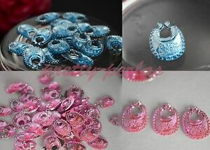 50 Small Bibs Baby Shower Favor Decorations BLUE - PINK Party Table Boy - Girl
