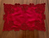 VINTAGE HAND EMBROIDERED LACE Burgundy Cotton TABLE CENTRE CLOTH DOILEY 16x10.5""