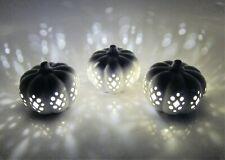 Led Lit Light Up Pierced White Ceramic Pumpkins Thanksgiving Fall Decor Set 3