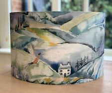 Handmade Lampshade Voyage Ambleside fabric Teal Hills Trees Countryside Wildlife