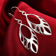 Awesome New Sterling Silver Plated Cutout Marquis Shape Dangle Drop Earrings