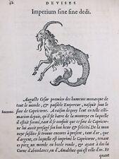 Capricorne 1557 Astrologie Auguste Monnaie Romaine Rare Gravure sur Bois