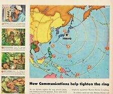1945 Western Electric Radio Vintage Print Ad WWII Communications Tighten Ring