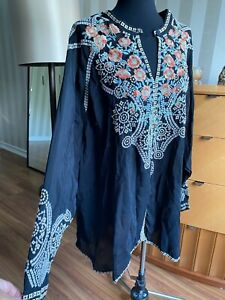 Johnny Was Alani Cupra Embroidered  Blouse Top   Sz 3XL