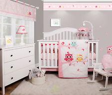 Doncaster Enchanted Owls Family Baby Girl Nursery 6 Piece Crib Bedding Set