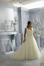 2018 Plus Size White/Ivory Satin Lace Beaded Bridal Gown Wedding Dress:14--26+