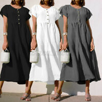 Women's Summer Casual Pleated Maxi Dress Ladies Solid A-Line Loose Shirt Dresses