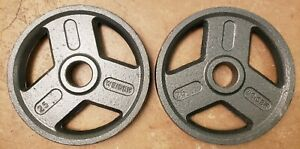 Pair 25 lb Weider Olympic grip weight plates gym 50lbs total