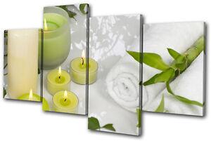 Bathroom Candles Towels MULTI CANVAS WALL ART Picture Print VA