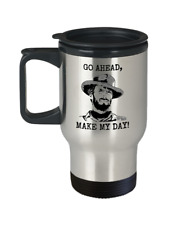 Cowboy Travel Mug, Clint Eastwood Cup Go Ahead Make My Day, 14oz Stainless Steel