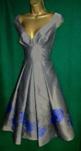 New LAURA ASHLEY Uk 10 Grey Taffeta Purple Rose Fit&Flare PROM DRESS -RRP £175
