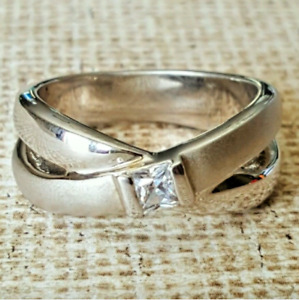 Ladies Silver Plated Band Ring Cubic Zirconia Sizes  8.5,10 Fashion Jewelry
