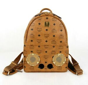 $1850 MCM Wizpak Cognac Brown Coated Canvas Small Backpack MMK8AOC85CO001