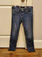 Adriano Goldschmied AG Capri Jeans, Cigarette Roll-up, Dark Wash, Size 27