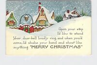 PPC POSTCARD WHITNEY MERRY CHRISTMAS SNOW COVERED HOMES FENCE EMBOSSED #2