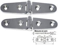 Charnière inox 103x27mm Epaisseur 4,5mm ( Lot de  2 ) inox A4 - 316