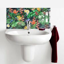 60cm x 30cm Print Glass Tile Basin Splashback - Tropical Plants with Birds