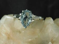 3.08 ct. Pear Aquamarine Ring Simple Sterling Silver