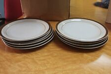 "Monterrey Brown Rim  & Beige 10"" Dinner Plate MI Japan Stoneware Lot of 3"