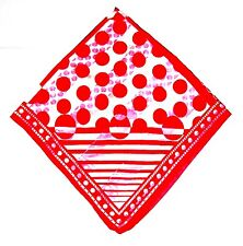 SCARF Lg Square Bright Red & White BIG AND LITTLE POLKA DOTS AND SOME STRIPES