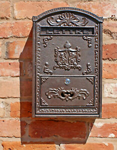 Vintage Retro Style Cast Iron and Wooden Wall Mounted Post Mail Letter Box Keys