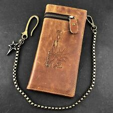 Biker Trucker Mens Genuine Leather Ziper Long Wallet With Metal Key Chain