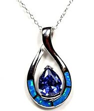 Tanzanite & Blue Fire Opal Inlay 925 Sterling Silver Pendant Necklace 18''