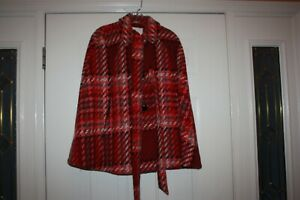 Kate Spade New York Chunky Plaid Cape, Dress the Part Red Multi Womens Size S