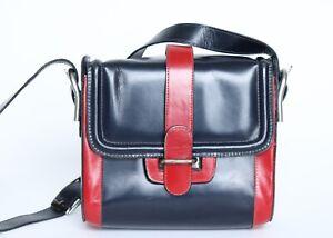 Vintage 1960s Shoulder Bag Box Leather Red / Blue Small