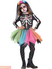 Girls 6-8y Sugar Skull Day Of The Dead Costume Halloween Fancy Dress Kids