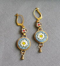 Vintage Victorian Style Floral Daisy Drop Dangle Micro Mosaic Pierced Earrings