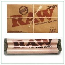 RAW 300's Natural Cigarette Rolling Papers+ RAW 79mm hemp plastic ROLLER MACHINE
